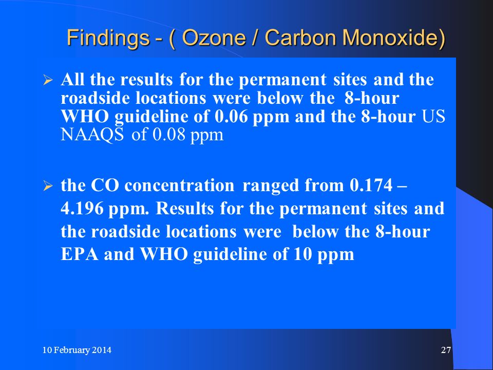 Findings - ( Ozone / Carbon Monoxide)