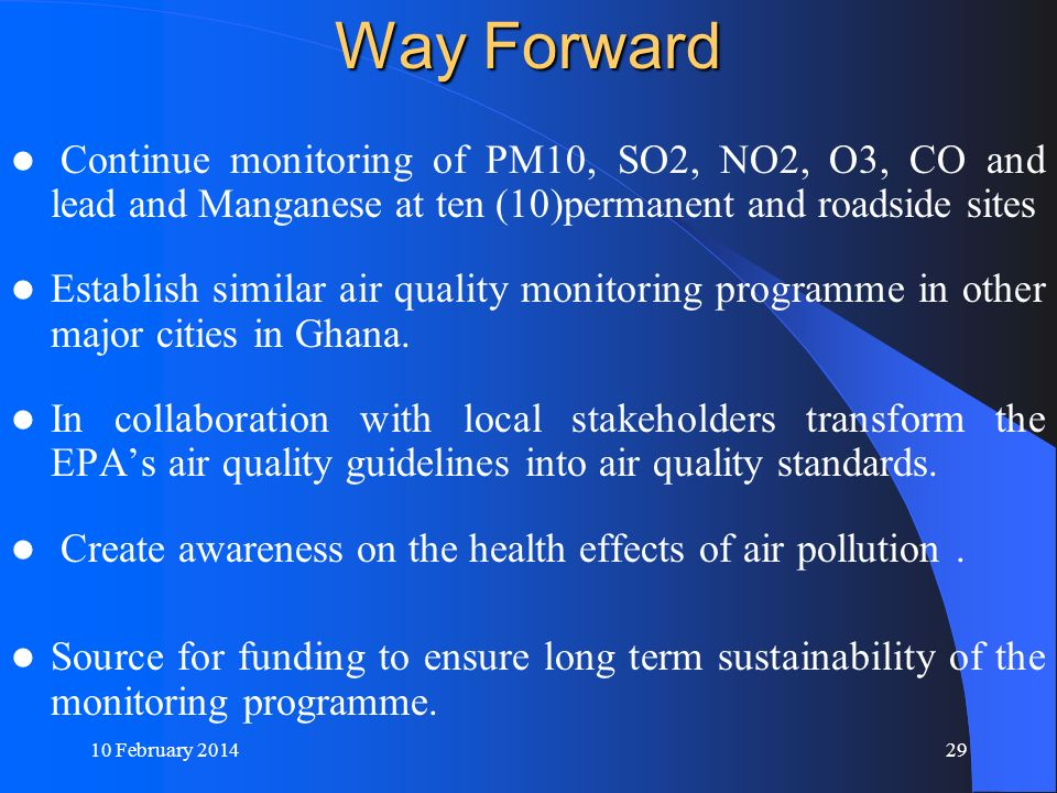 Way Forward Continue monitoring of PM10, SO2, NO2, O3, CO and lead and Manganese at ten (10)permanent and roadside sites.