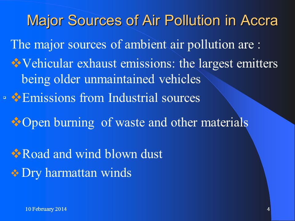 Major Sources of Air Pollution in Accra