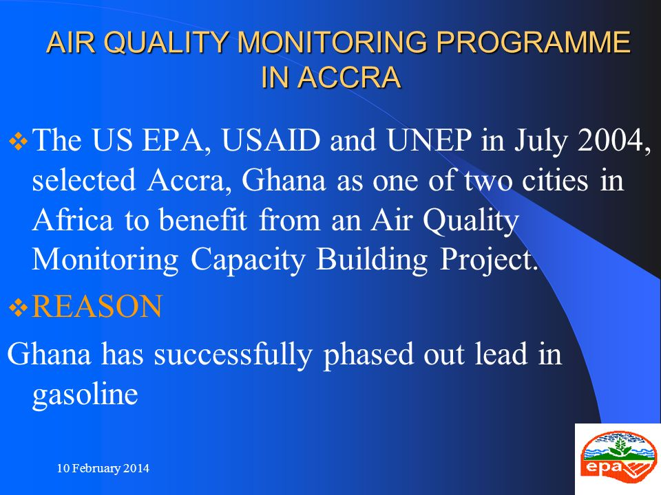AIR QUALITY MONITORING PROGRAMME IN ACCRA