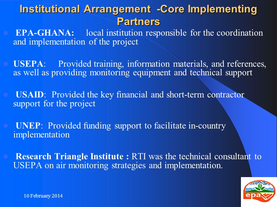 Institutional Arrangement -Core Implementing Partners