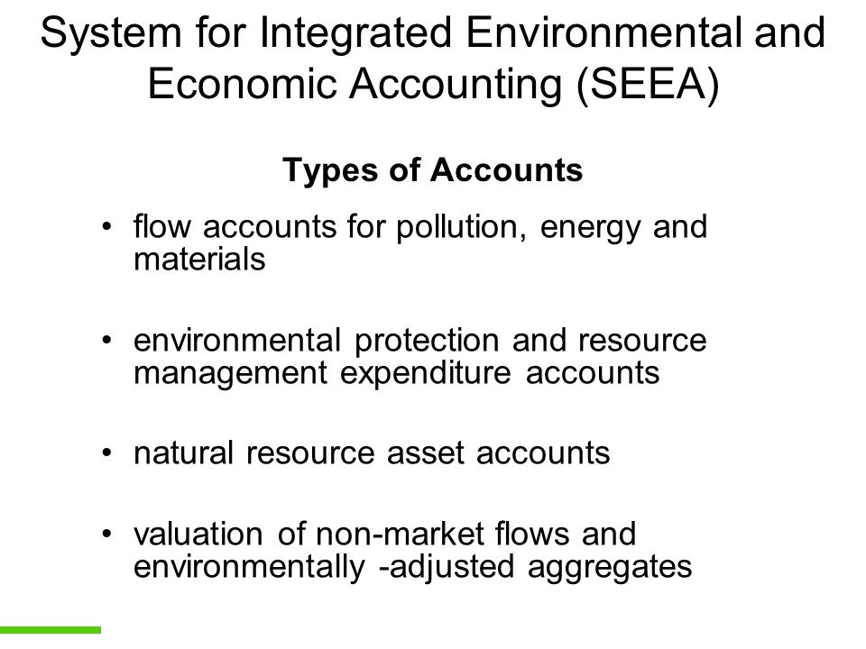 System for Integrated Environmental and Economic Accounting (SEEA) Types of Accounts