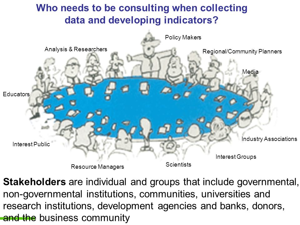 Who needs to be consulting when collecting data and developing indicators