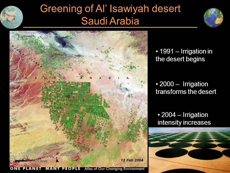 Greening of Al' Isawiyah desert Saudi Arabia
