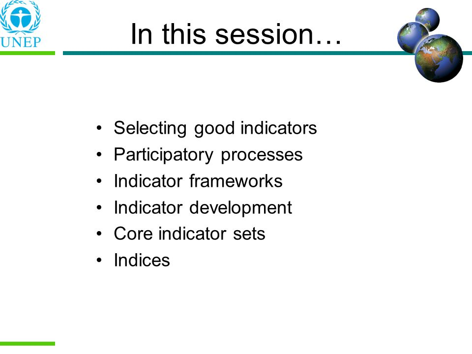 In this session… Selecting good indicators Participatory processes