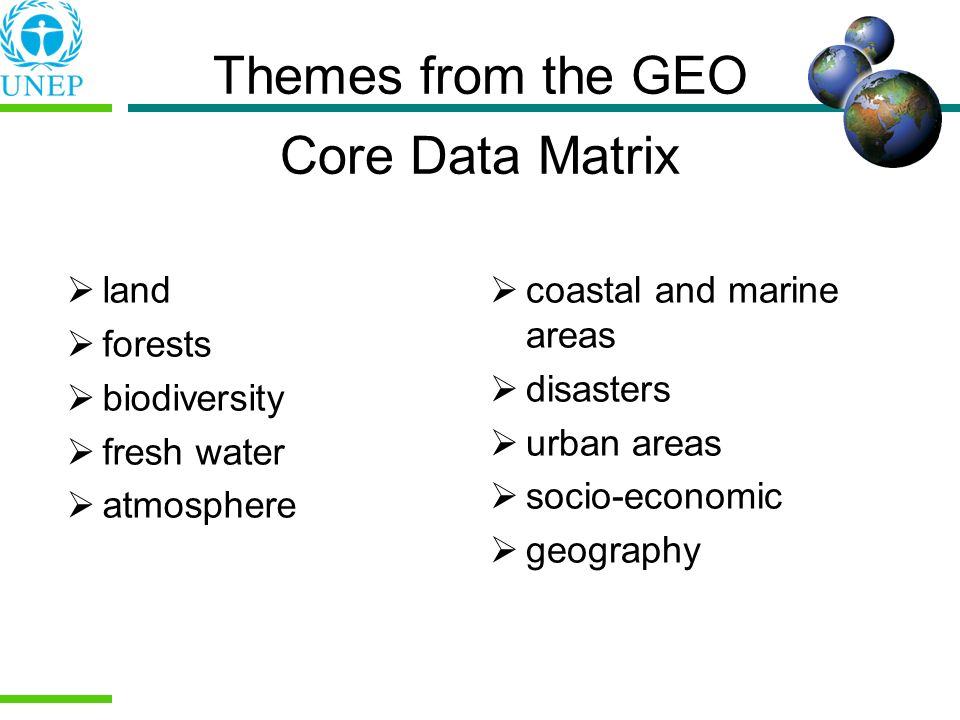 Themes from the GEO Core Data Matrix