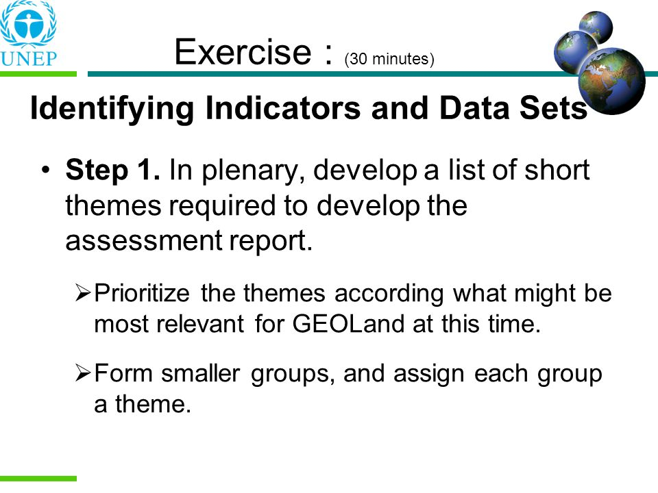 Exercise : (30 minutes) Identifying Indicators and Data Sets