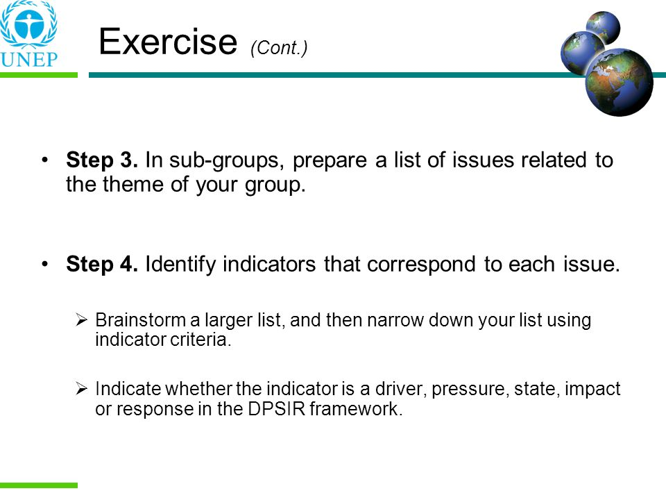 Exercise (Cont.) Step 3. In sub-groups, prepare a list of issues related to the theme of your group.