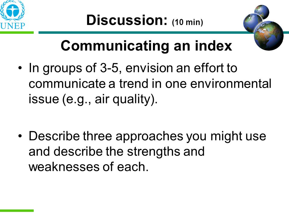 Discussion: (10 min) Communicating an index