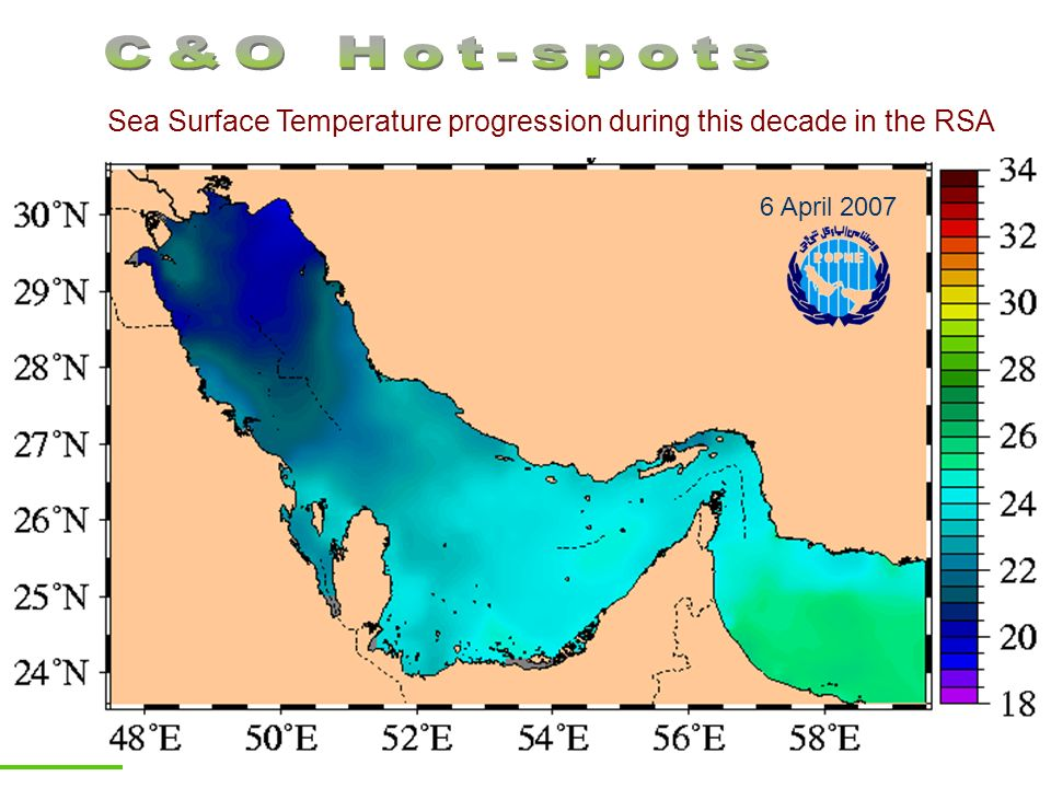 C&O Hot-spots Sea Surface Temperature progression during this decade in the RSA 6 April 2007