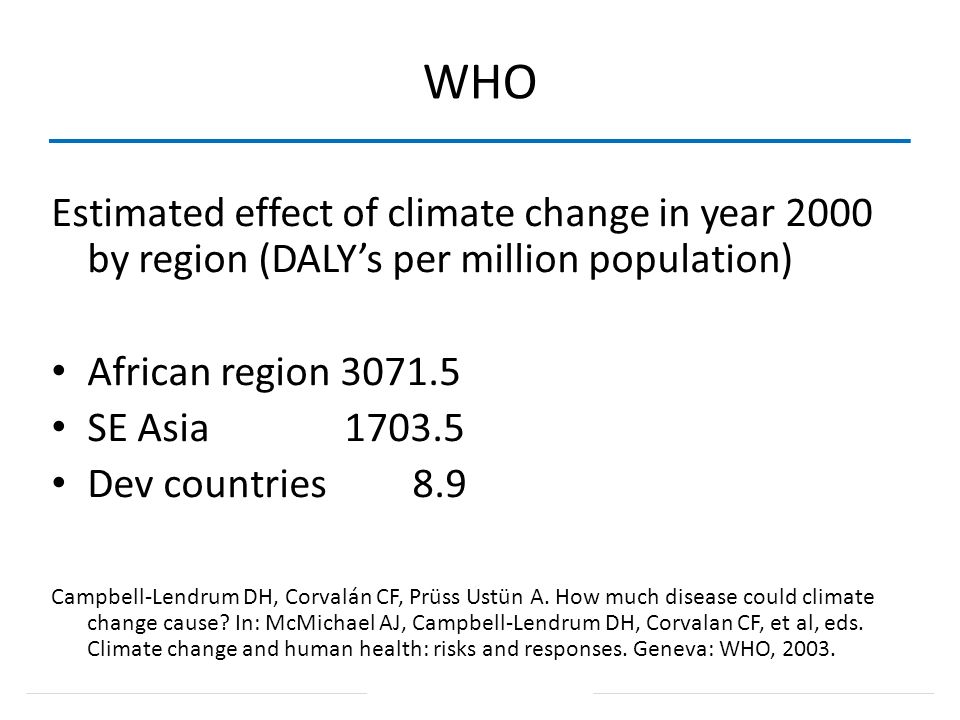 WHO Estimated effect of climate change in year 2000 by region (DALY's per million population) African region 3071.5.