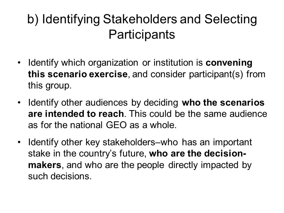 b) Identifying Stakeholders and Selecting Participants