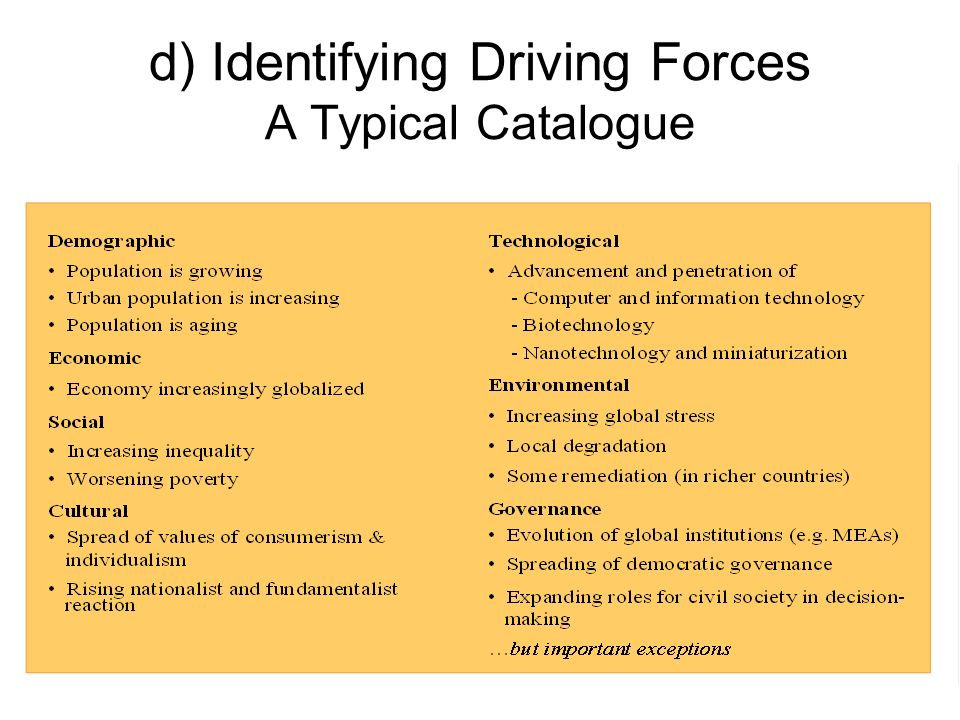 d) Identifying Driving Forces A Typical Catalogue