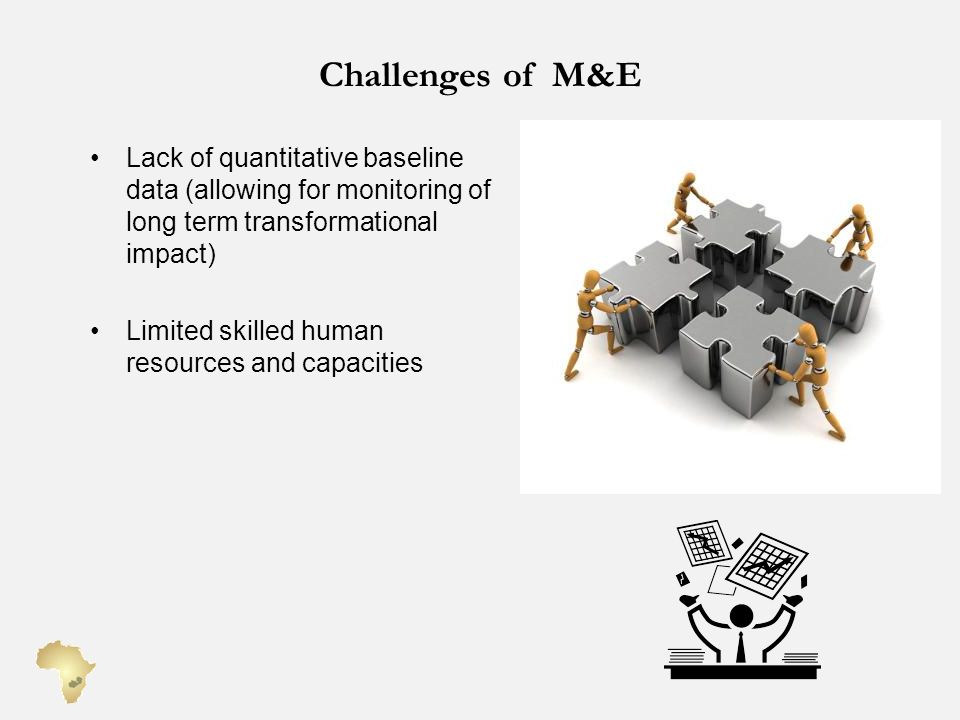 Challenges of M&E Lack of quantitative baseline data (allowing for monitoring of long term transformational impact)