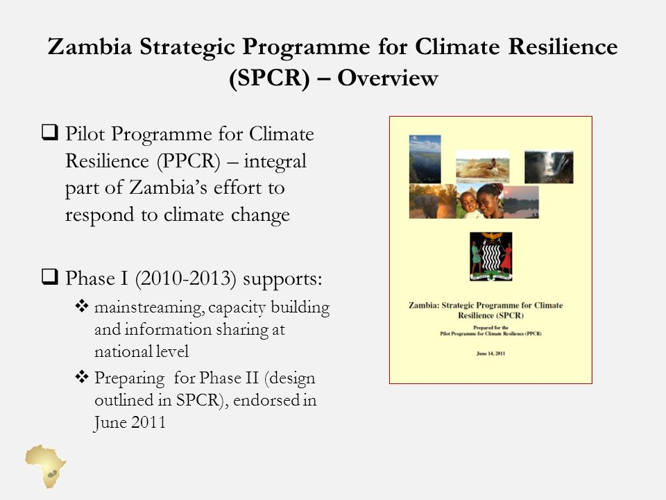 Zambia Strategic Programme for Climate Resilience (SPCR) – Overview