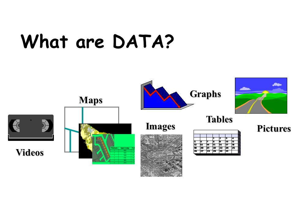 What are DATA Graphs Maps Tables Images Pictures Videos
