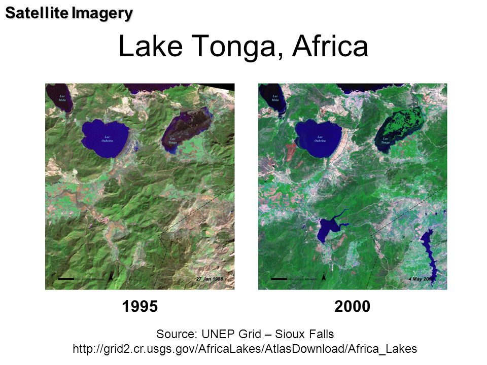 Lake Tonga, Africa Satellite Imagery 1995 2000