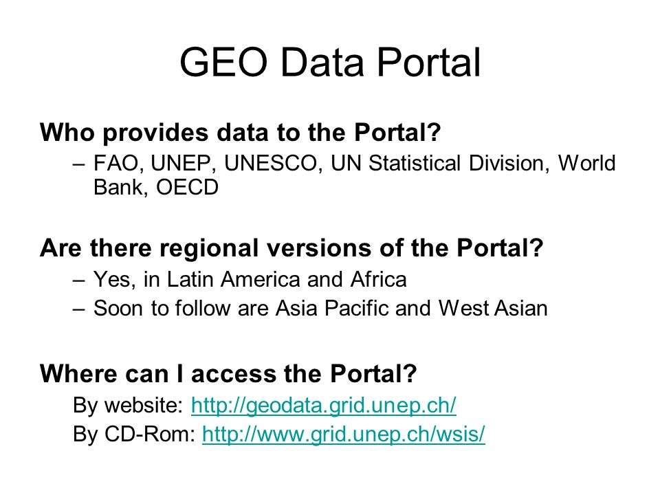GEO Data Portal Who provides data to the Portal