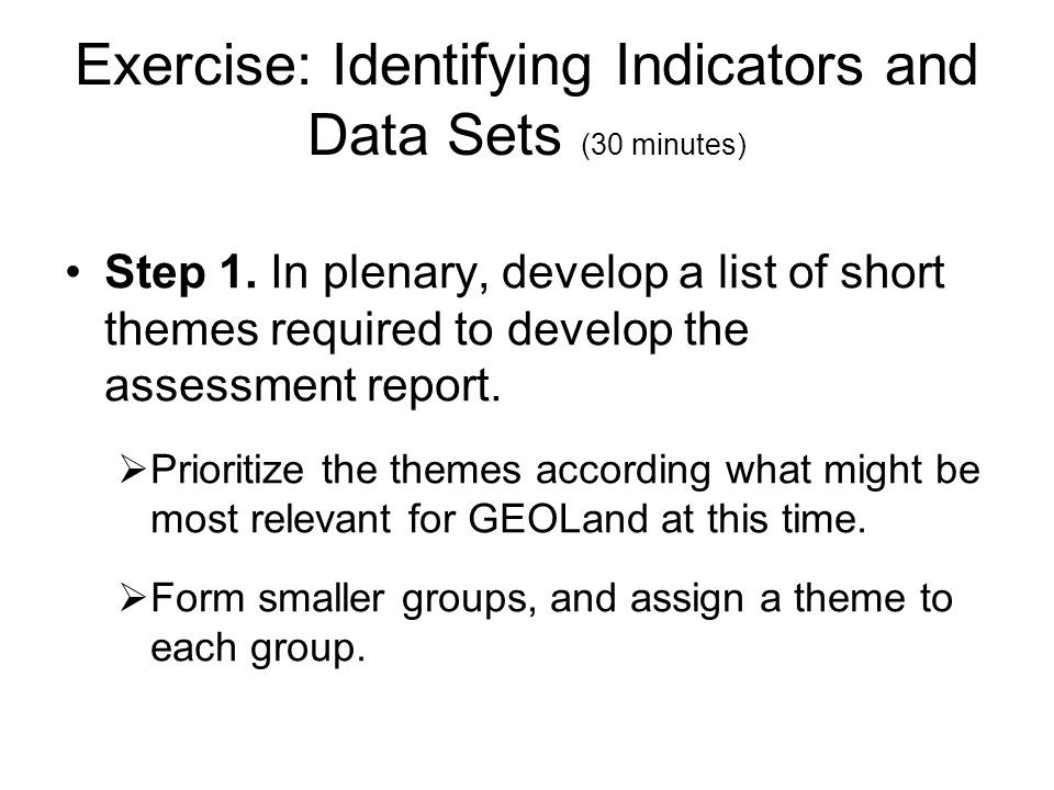Exercise: Identifying Indicators and Data Sets (30 minutes)