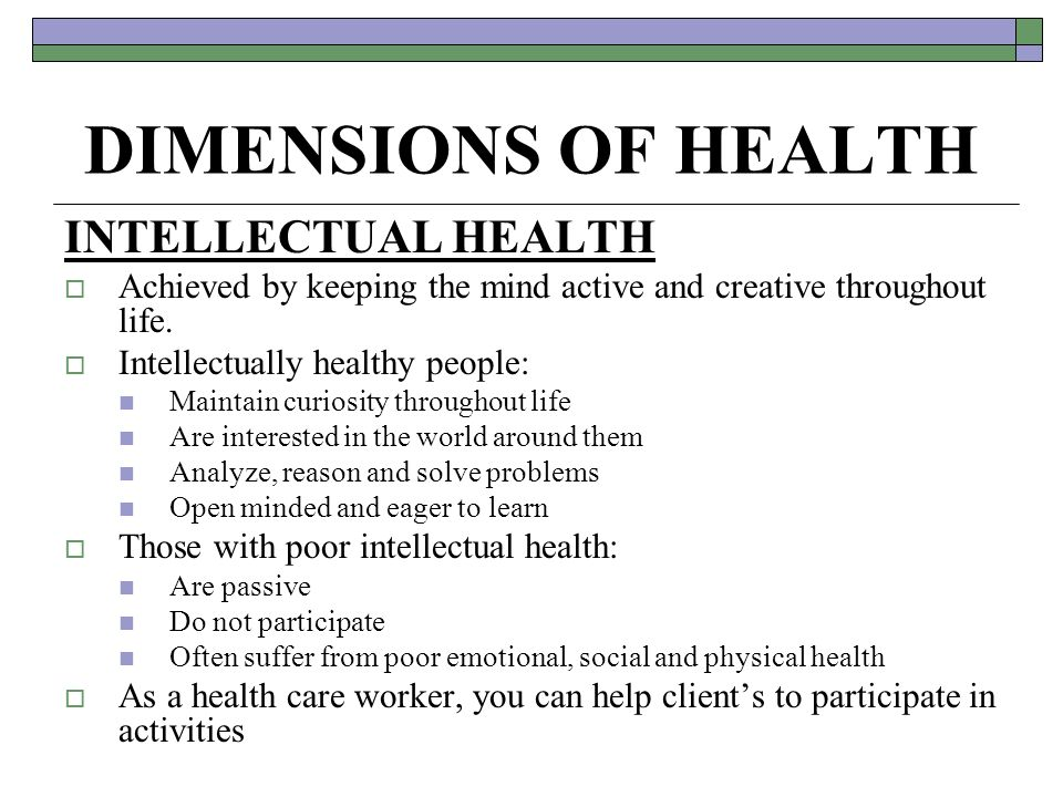 8 dimensions of health Faculty and staff to make choices towards a healthy and fulfilling life  ( substance abuse and mental health services administration) 8 dimensions of.
