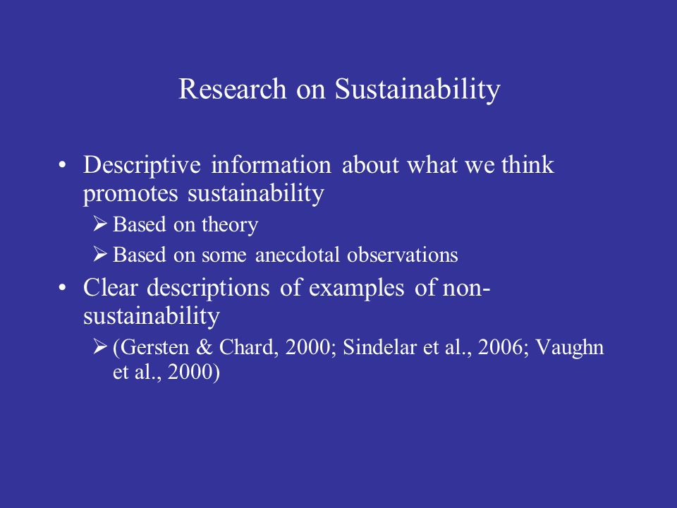 Research on Sustainability