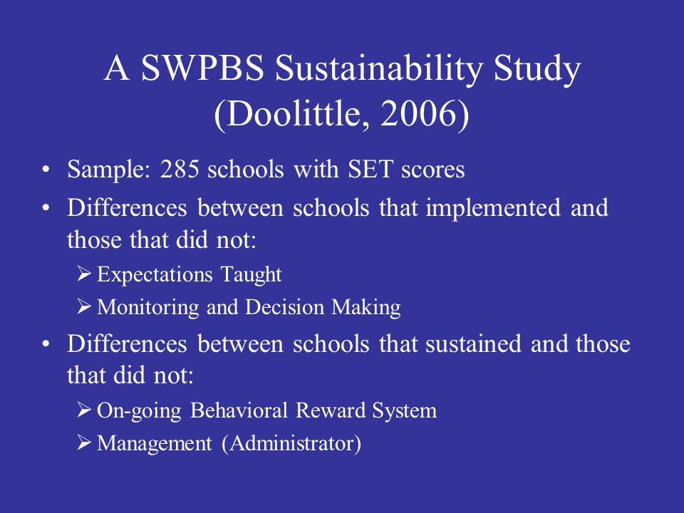 A SWPBS Sustainability Study (Doolittle, 2006)