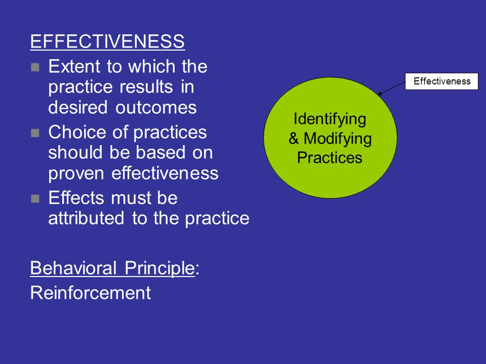 Extent to which the practice results in desired outcomes