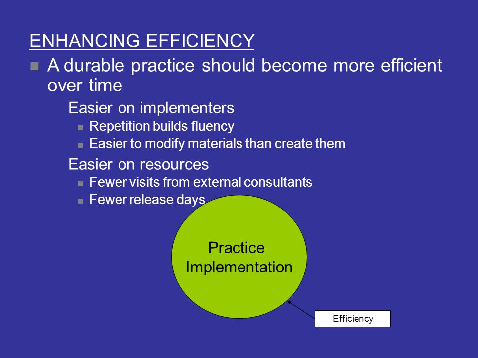 A durable practice should become more efficient over time