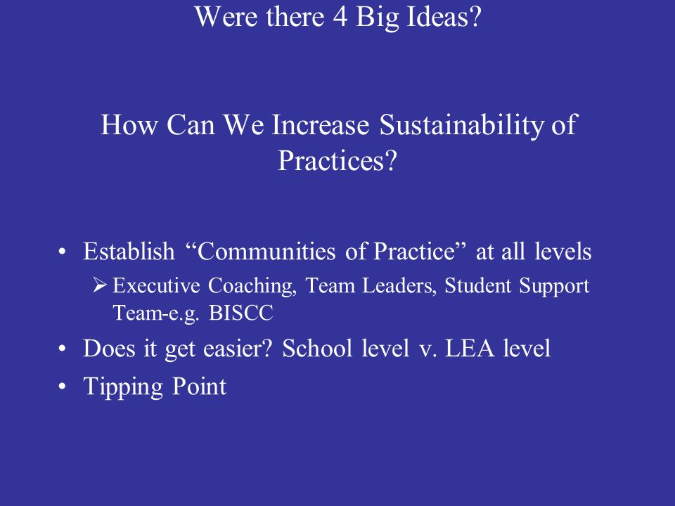 Were there 4 Big Ideas How Can We Increase Sustainability of Practices