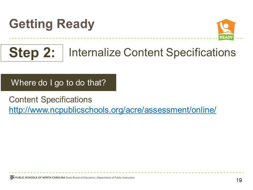 Step 2: Getting Ready Internalize Content Specifications