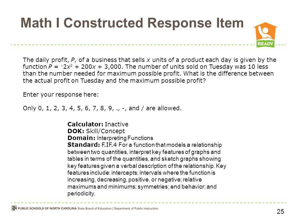 Math I Constructed Response Item