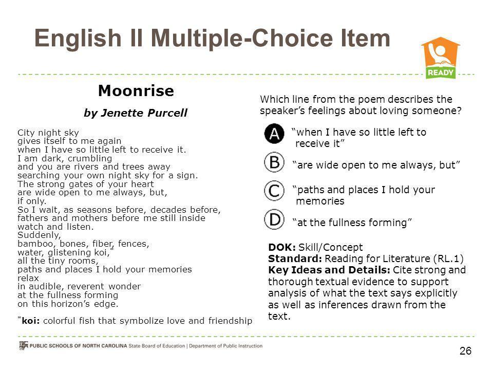 English II Multiple-Choice Item
