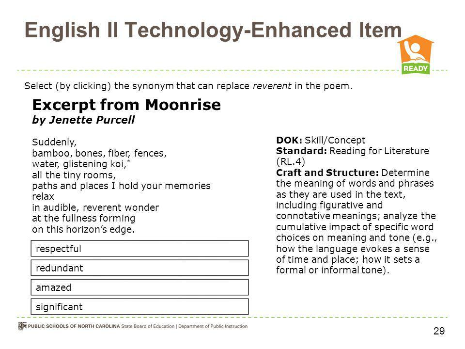 English II Technology-Enhanced Item