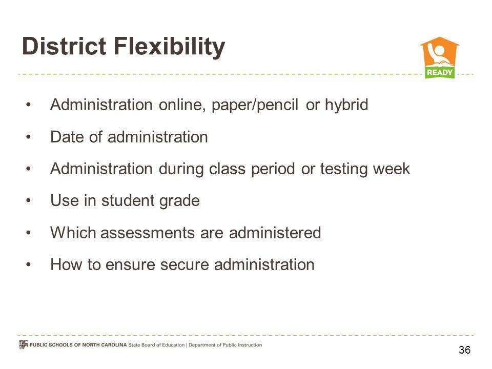 District Flexibility Administration online, paper/pencil or hybrid