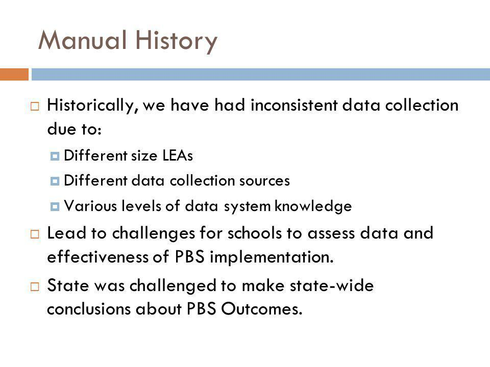 Manual History Historically, we have had inconsistent data collection due to: Different size LEAs.