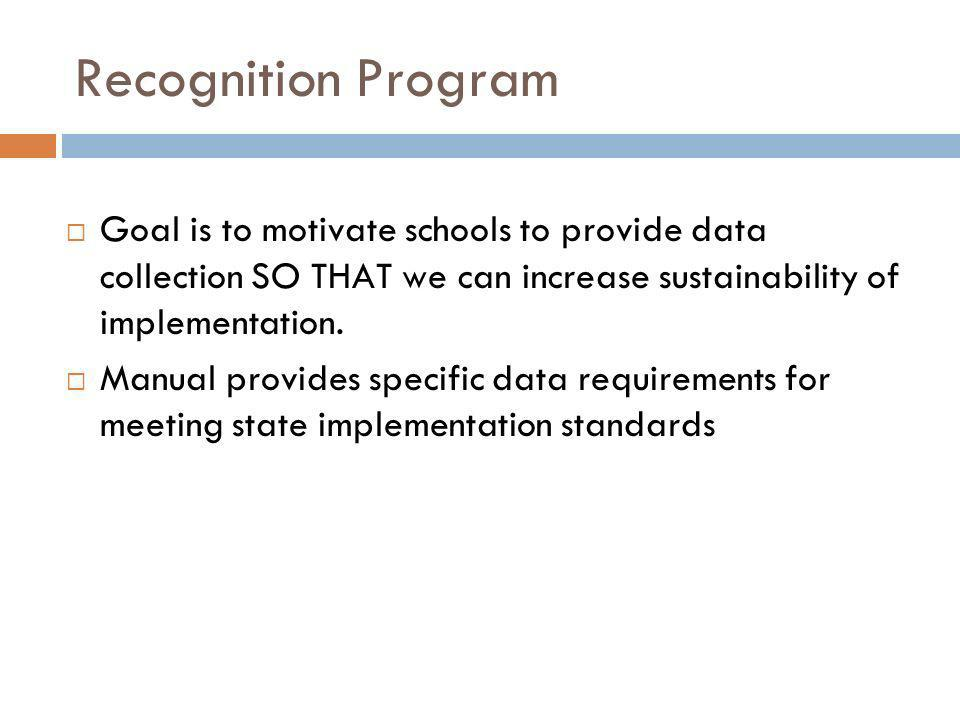 Recognition Program Goal is to motivate schools to provide data collection SO THAT we can increase sustainability of implementation.
