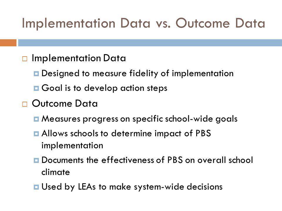 Implementation Data vs. Outcome Data