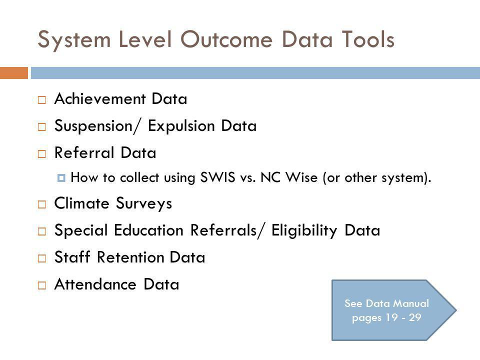 System Level Outcome Data Tools