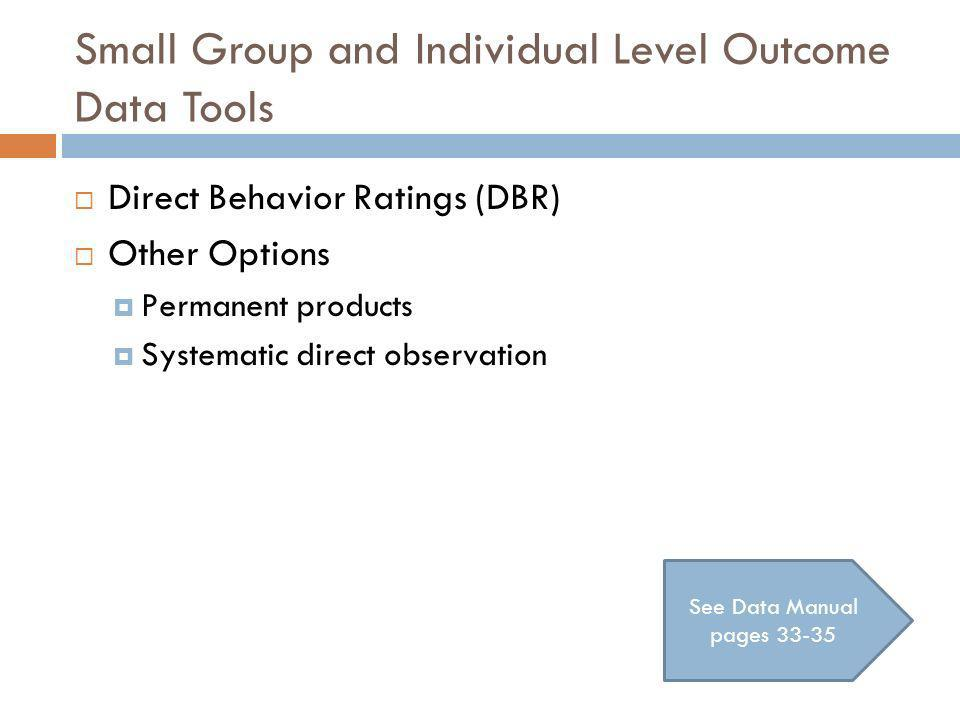 Small Group and Individual Level Outcome Data Tools