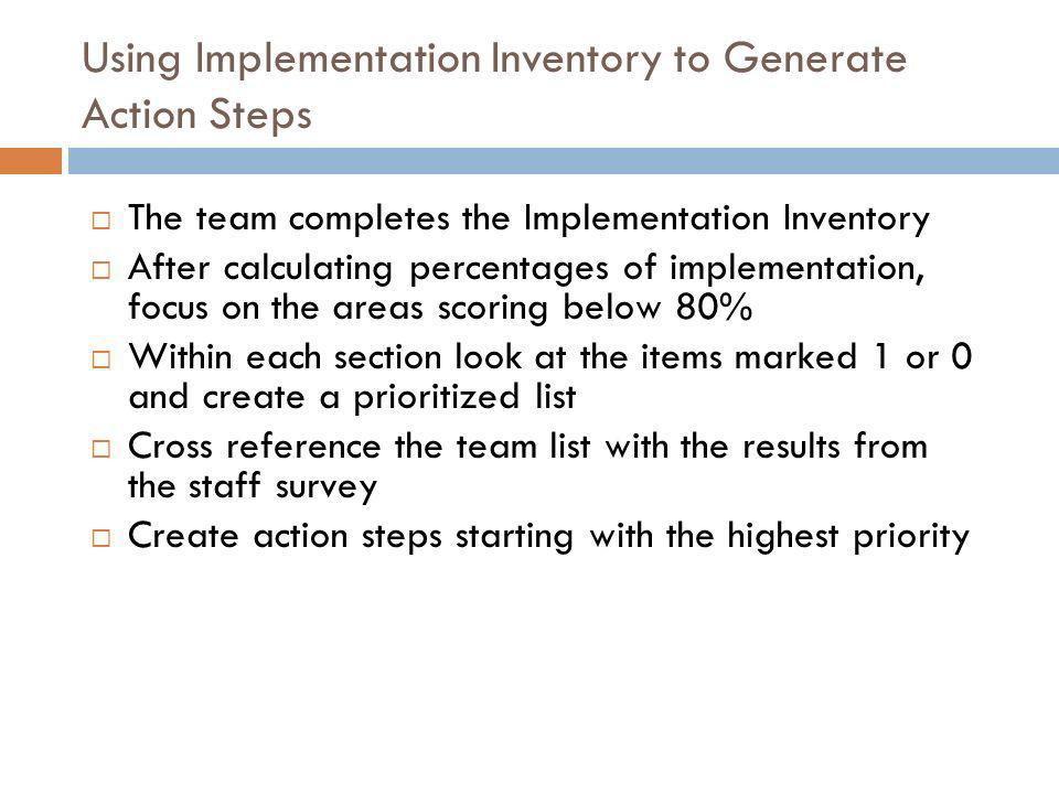 Using Implementation Inventory to Generate Action Steps