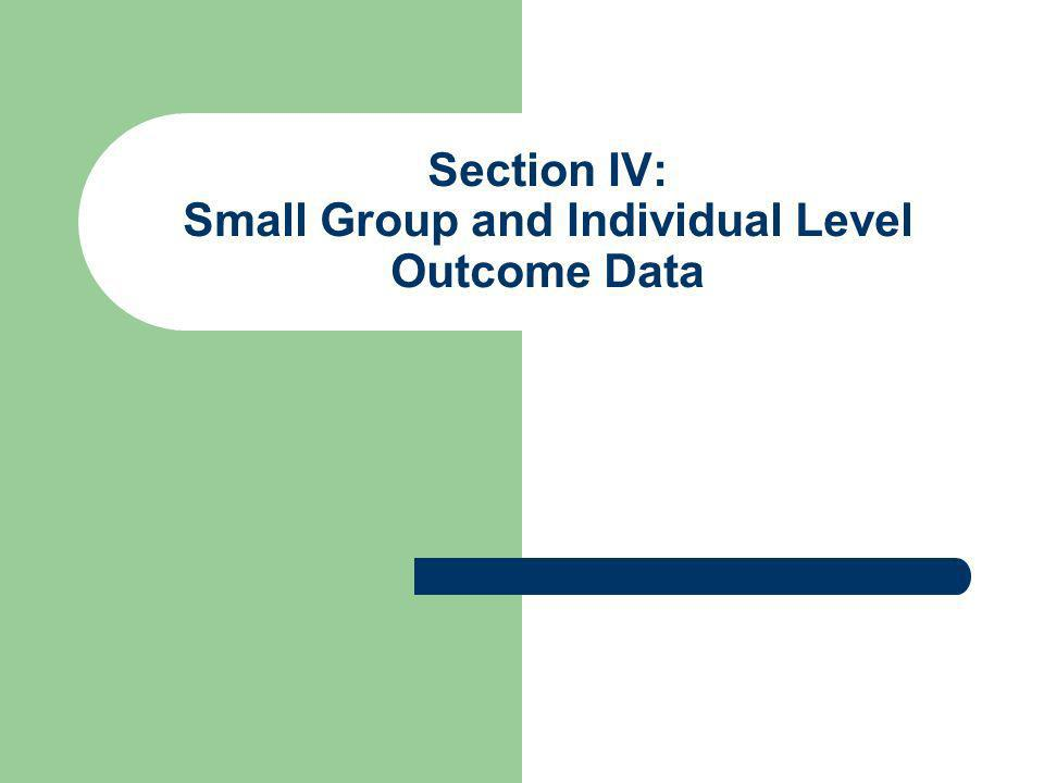 Section IV: Small Group and Individual Level Outcome Data