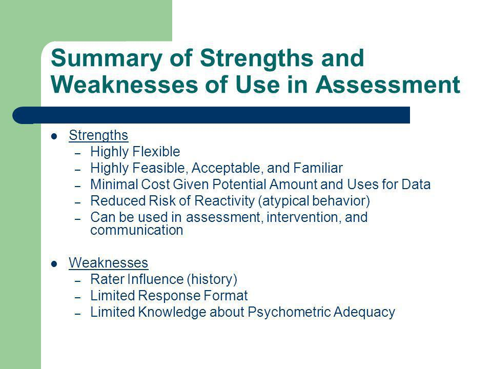 Summary of Strengths and Weaknesses of Use in Assessment