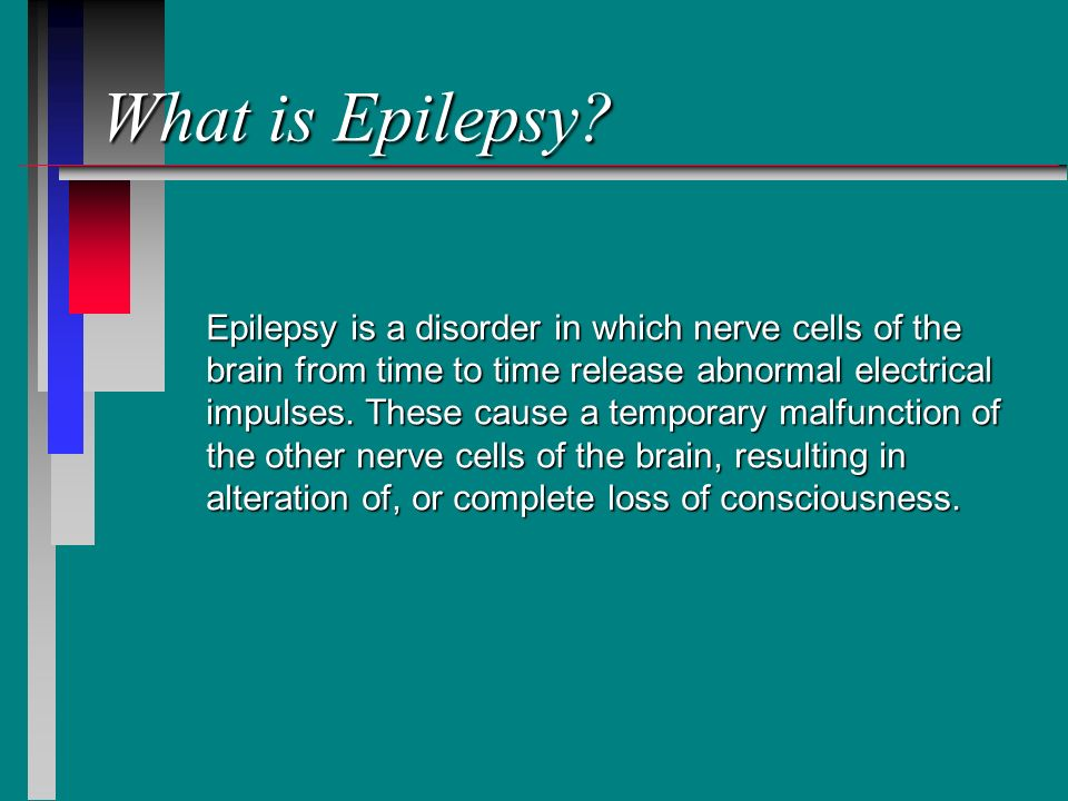 epilepsy a disorder in which nerve cells of the brain from time to time release abnormal electrical  Epilepsy and seizures back to nervous system disorders  anything that interrupts the normal connections between nerve cells in the brain can cause a seizure this includes a high fever.