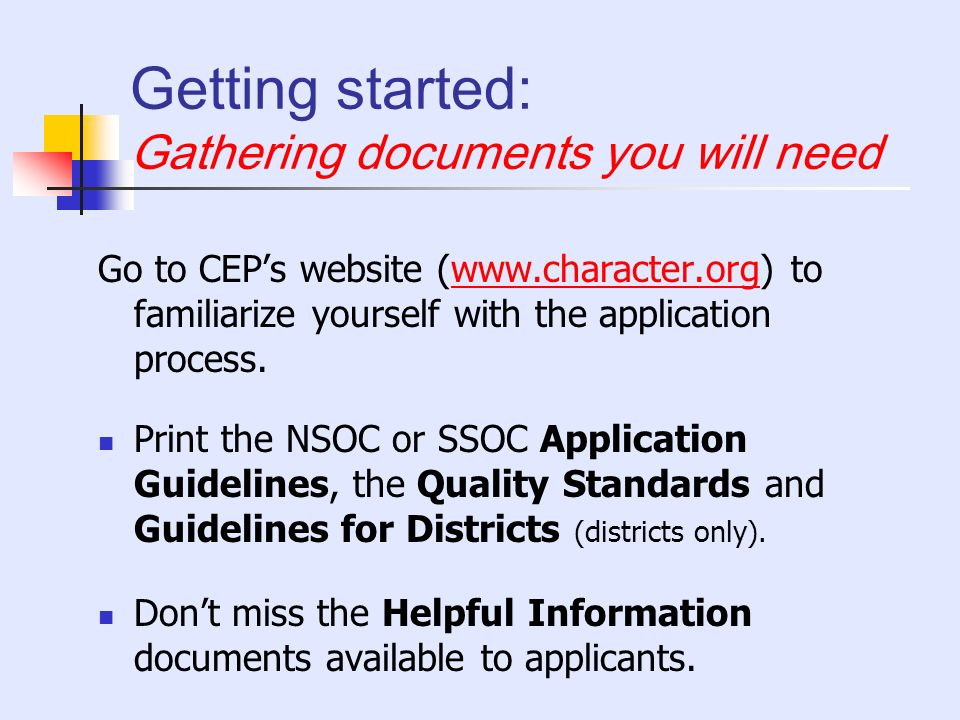 Getting started: Gathering documents you will need