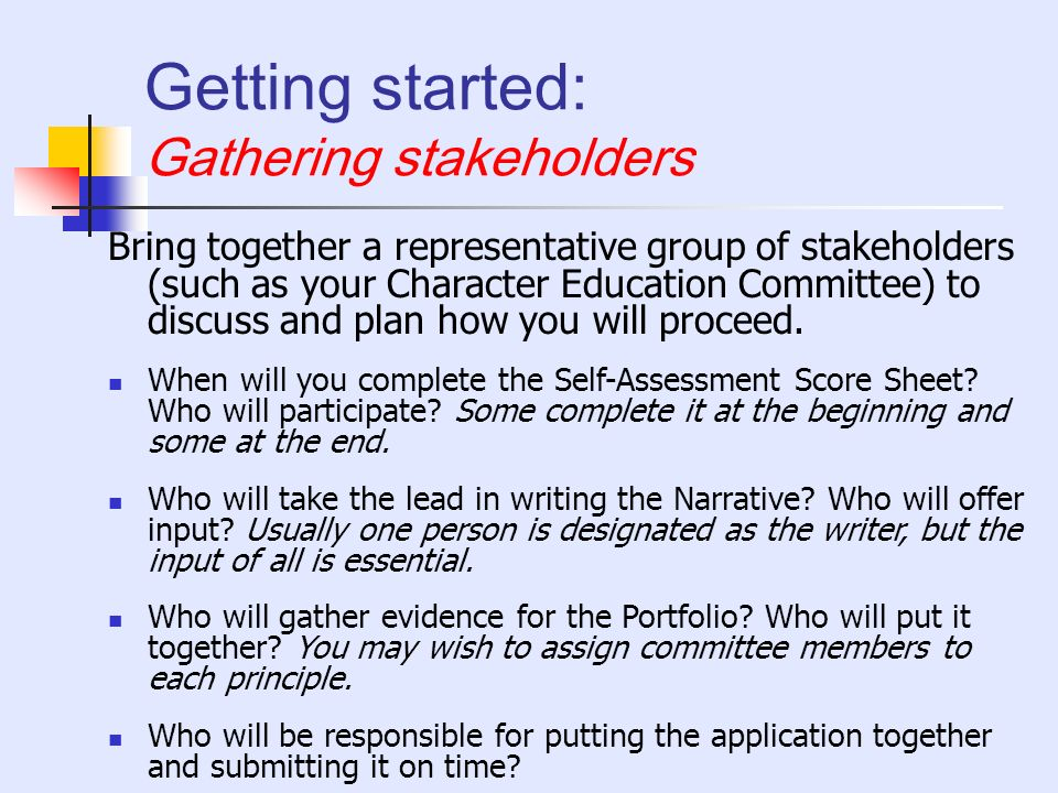 Getting started: Gathering stakeholders