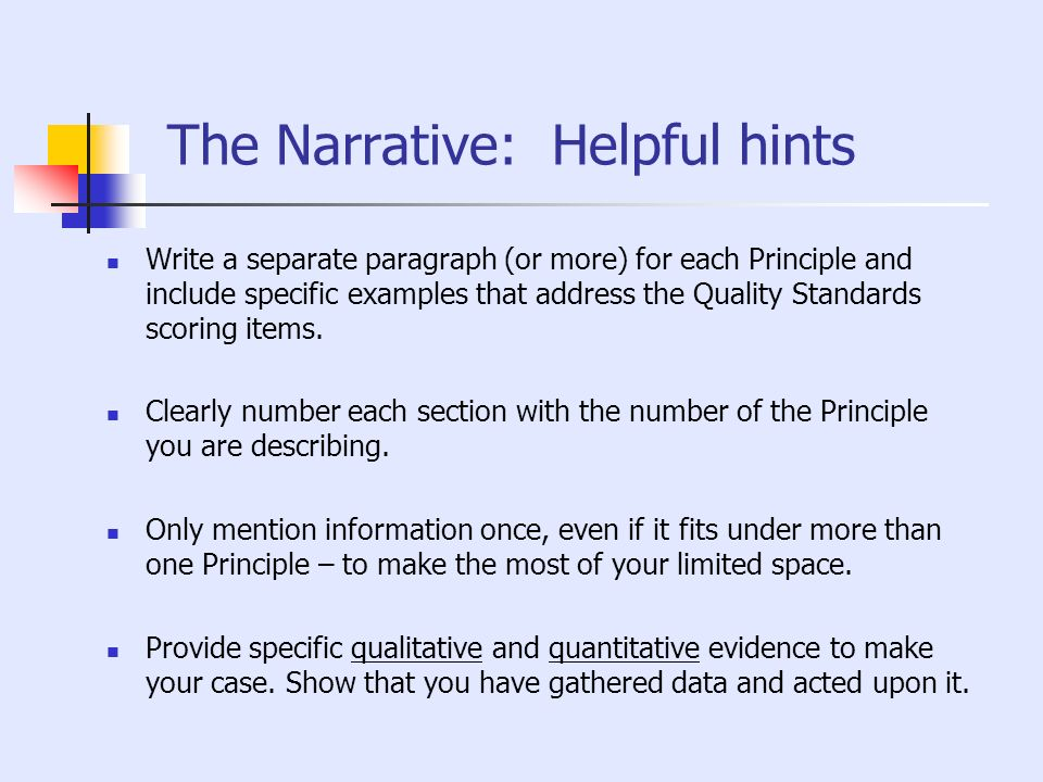The Narrative: Helpful hints