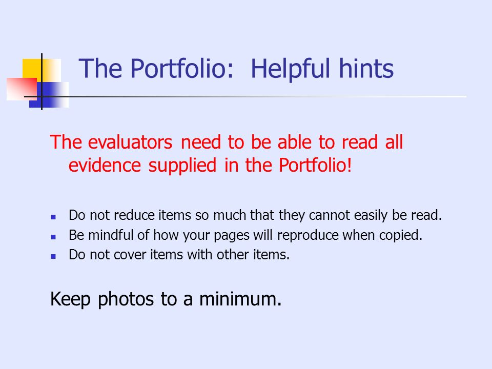 The Portfolio: Helpful hints
