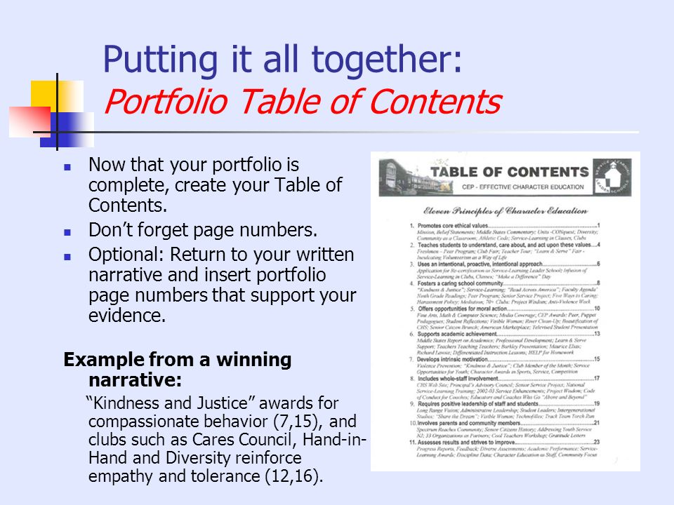 Putting it all together: Portfolio Table of Contents