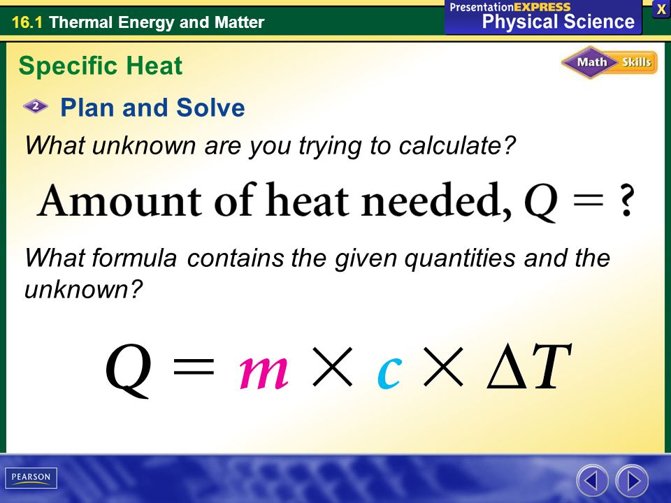 how to solve for specific heat