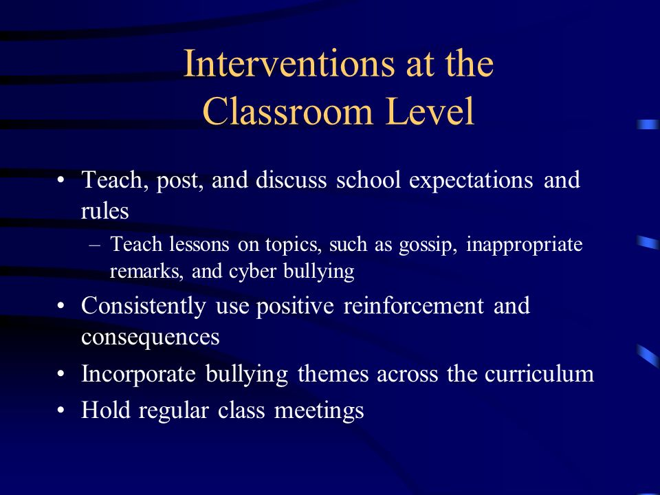 Interventions at the Classroom Level